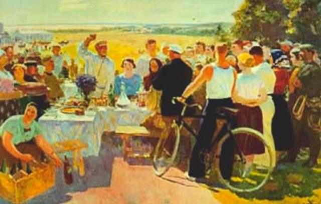LUKISAN festa del raccolto nel kholkoz