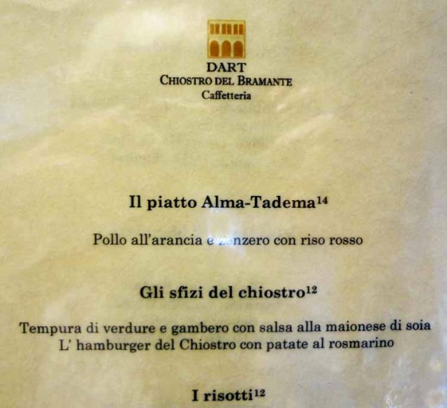 menu bramante